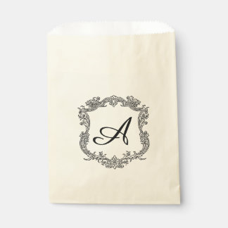 Floral Border with Monogram Favour Bags
