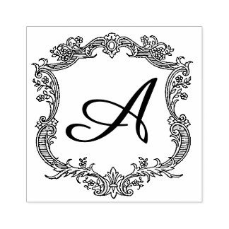 Floral Border with Monogram Rubber Stamp