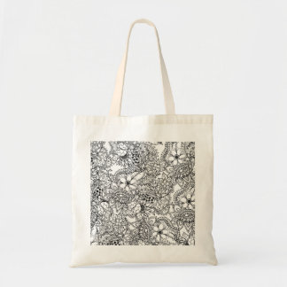 Floral botanical hand drawn coloring in DIY Tote Bag