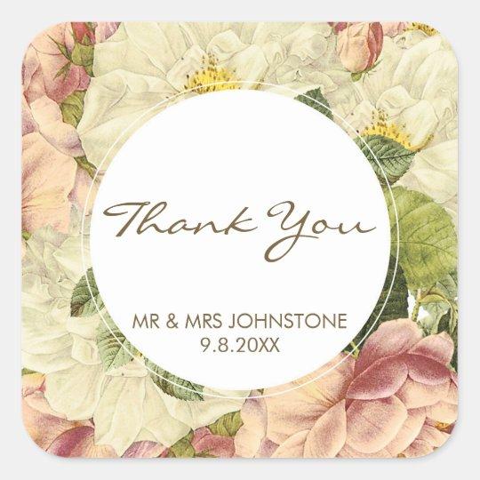floral botanical vintage thank you favors stickers