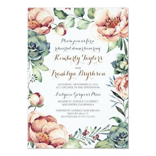 Floral Botanical Watercolor Fall Rehearsal Dinner Card