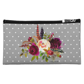 Floral Bouquet and Dots with Name Cosmetic Bag