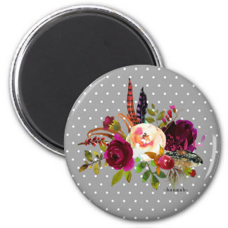 Floral Bouquet and Dots with Name Magnet