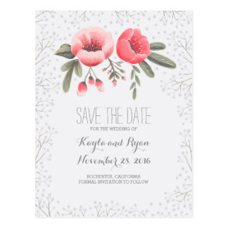 Floral Bouquet Baby's Breath Save the Date Postcard