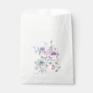 Floral Bouquet Bridal Shower Favor Bag