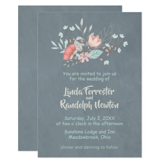 Floral Bouquet Chalkboard Wedding Invitation