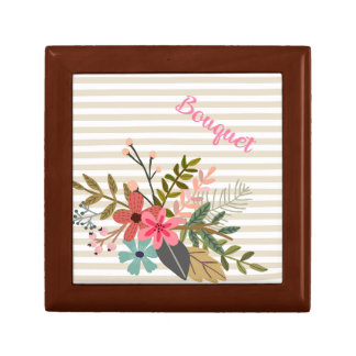 Floral Bouquet on Beige Stripe Gift Box