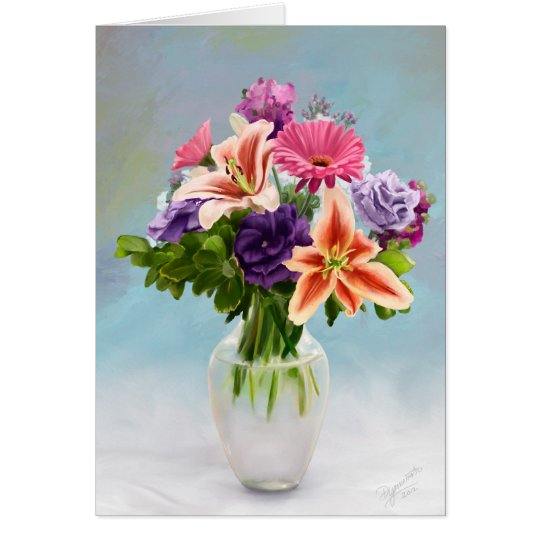 Floral Bouquet Painting Card