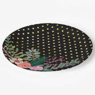 Floral bouquet party * choose background color 9 inch paper plate