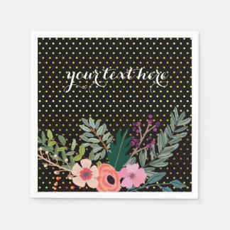 Floral bouquet party * choose background color disposable napkin