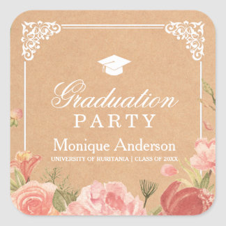 Floral Bouquet & Rustic Texture | Graduation Party Square Sticker