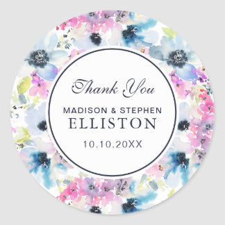 Floral Bouquet Watercolor | Thank You Classic Round Sticker