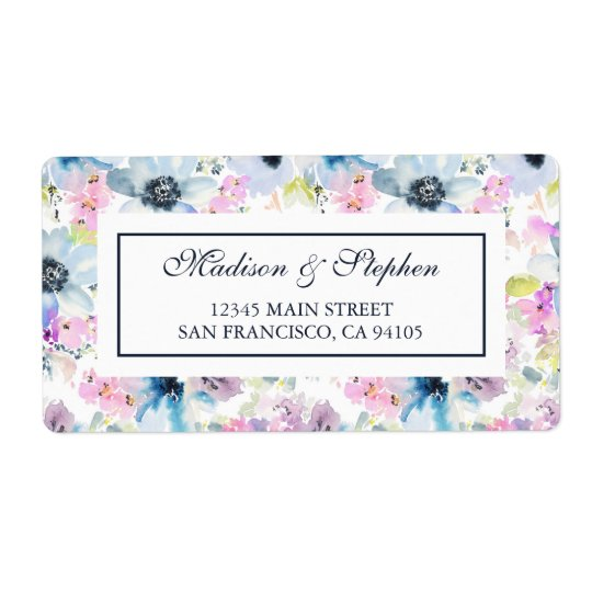 Floral Bouquet Watercolor -  Wedding Shipping Label