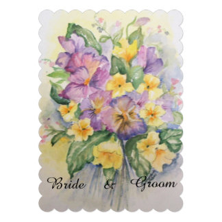 Floral bouquet with pansies wedding invitation