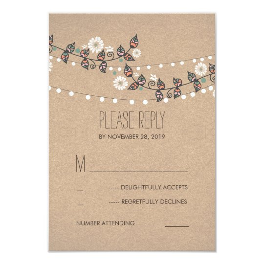 Floral Branches String of Lights Wedding RSVP Card