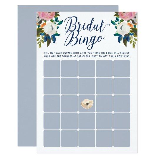 Floral Bridal Shower Bingo Cards Light Blue
