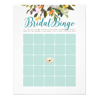 Floral Bridal Shower Bingo Cards Robins Egg Blue 11.5 Cm X 14 Cm Flyer