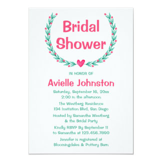 Floral Bridal Shower Green Turquoise Pink Wreath Card
