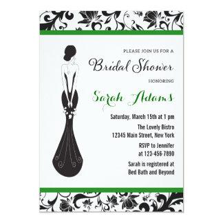 Floral Bridal Shower Invitation Green