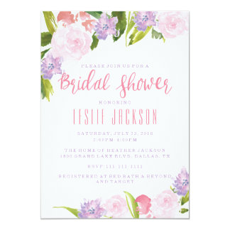 Floral Bridal Shower Invitation Watercolor Flowers