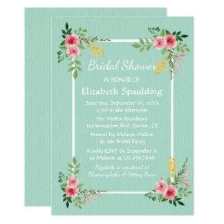 Floral Bridal Shower Mint Green Pink Rose Flowers 13 Cm X 18 Cm Invitation Card