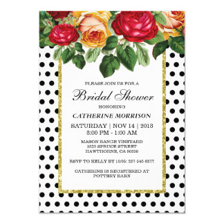 FLORAL BRIDAL SHOWER PARTY | BLACK GOLD 11 CM X 16 CM INVITATION CARD