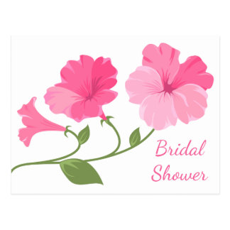 Floral Bridal Shower Pink And Fuchsia Flowers Postcard