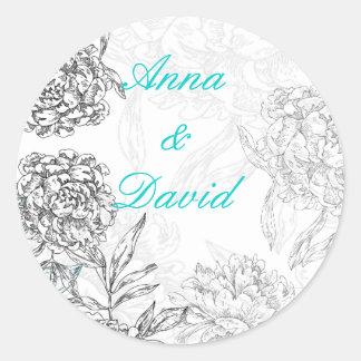 Floral Bride Groom Wedding Seal Sticker Aqua Blue