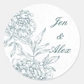 Floral Bride Groom Wedding Seal Sticker Jade Green