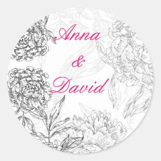 Floral Bride Groom Wedding Seal Sticker Pink