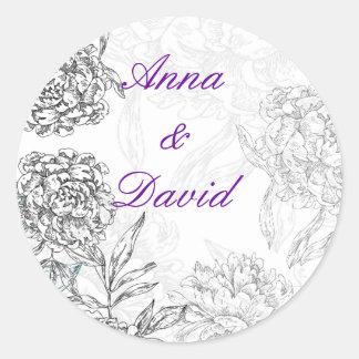 Floral Bride Groom Wedding Seal Sticker Purple