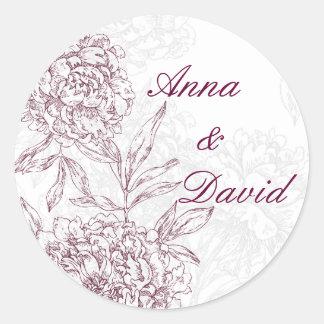 Floral Bride Groom Wedding Seal Sticker Wine Red