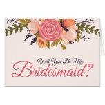 Floral Bridesmaid Request Card