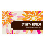 FLORAL bright modern dahlia yellow orange pink Pack Of Standard Business Cards