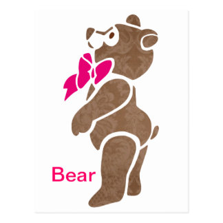 Floral Brown Bear with Pink Bow Tie Postcard