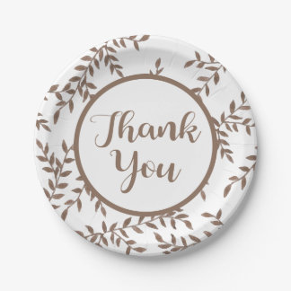 Floral Brown Leaves Thank You Watercolor Leaf Paper Plate