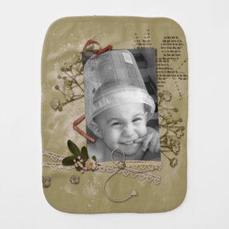 Floral Brown Paper Cupid Scrap Style Photo Frame Baby Burp Cloth