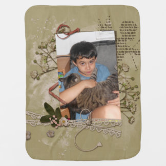 Floral Brown Paper Cupid Scrap Style Photo Frame Baby Blankets