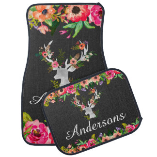 Floral Buck Deer Boho Personalized Custom Car Mats