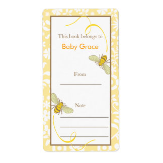 Floral Bumble Bee Bookplate