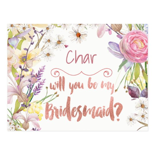 Floral Bunches Bridesmaid Request Postcard