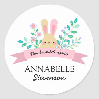 Floral Bunny | Yellow & Pink This Book Belongs To Classic Round Sticker