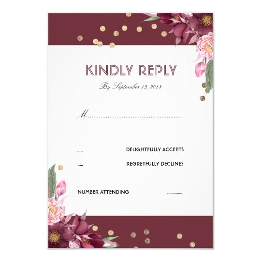Floral Burgundy and Gold Dots Wedding RSVP Card