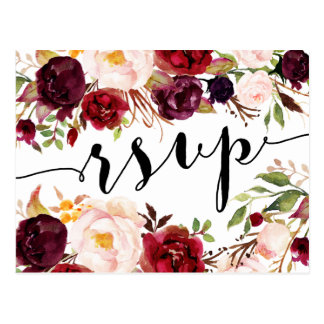Floral Burgundy Marsala RSVP Postcard