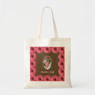 Floral Burlap Baby Girl | Create Your Own Mom Tote Bag