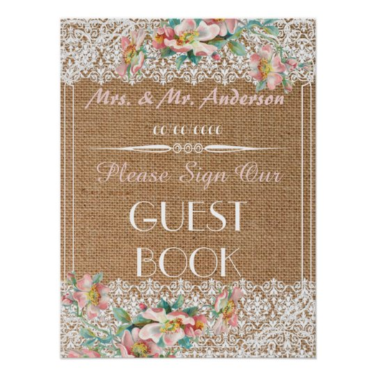 Floral burlap wedding guestbook poster