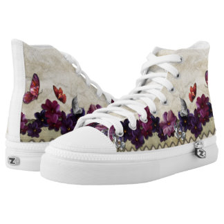 Floral butterflies printed shoes