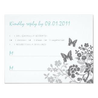 Floral Butterflies Response Card Personalized Announcement