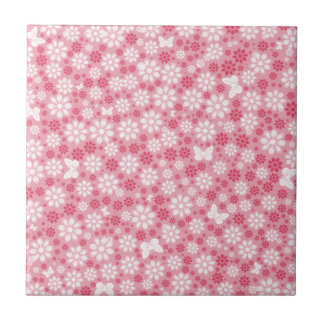 Floral Butterflies Small Square Tile