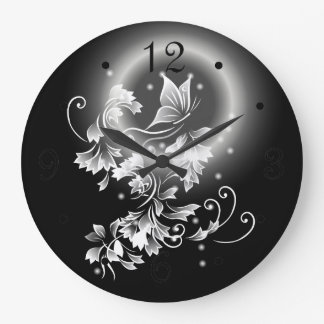 Floral Butterfly Black And White Large Clock